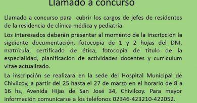 Llamado a concurso para  cubrir los cargos de jefes de residentes de la residencia de clínica médica y pediatría.