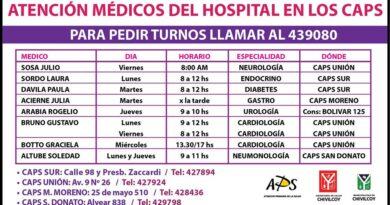 Médicos del Hospital atenderán en los CAPS Unión, Sur y M. Moreno