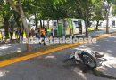 Siniestro en Plaza España: recibió el alta y fue a agredir al personal de tránsito e intentó hacerse de su motocicleta de una manera violenta